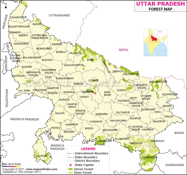 Forest Map of Uttar Pradesh